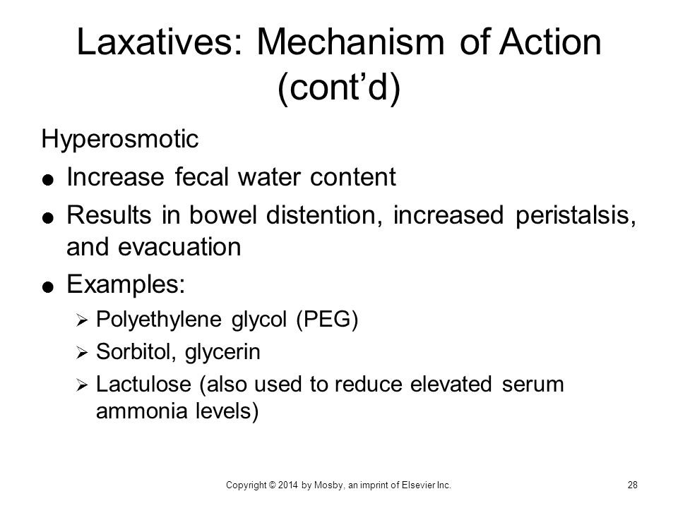 Laxatives: Mechanism of Action (cont'd)