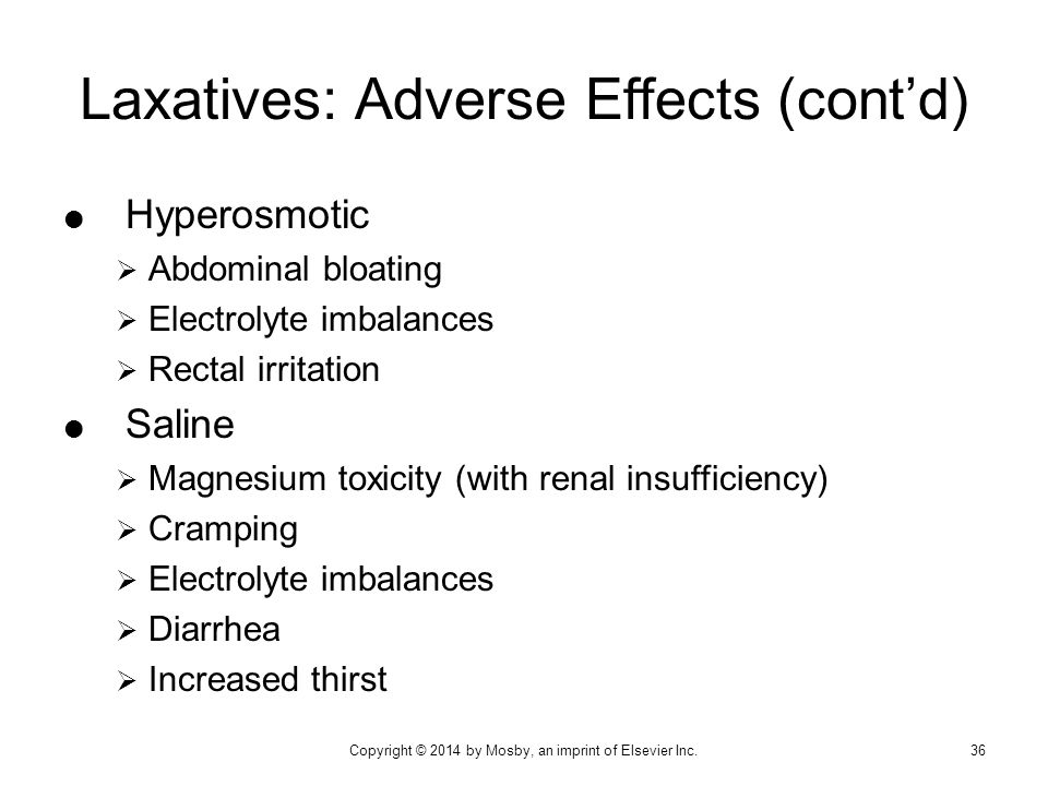 Laxatives: Adverse Effects (cont'd)