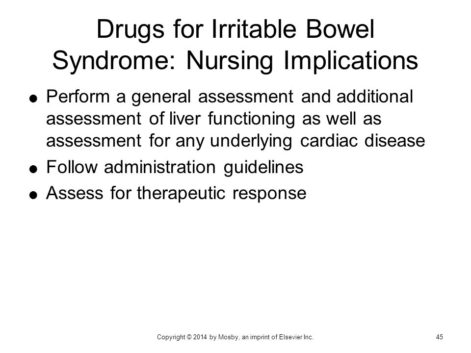 Drugs for Irritable Bowel Syndrome: Nursing Implications