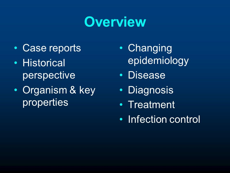 Overview Case reports Historical perspective Organism & key properties