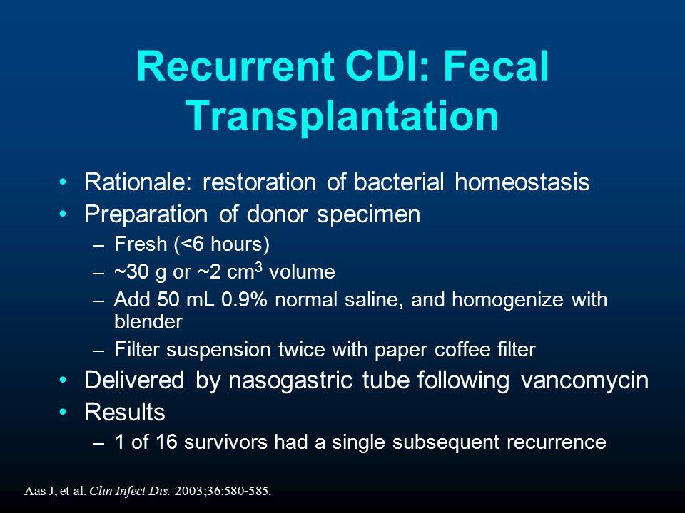 Recurrent CDI: Fecal Transplantation