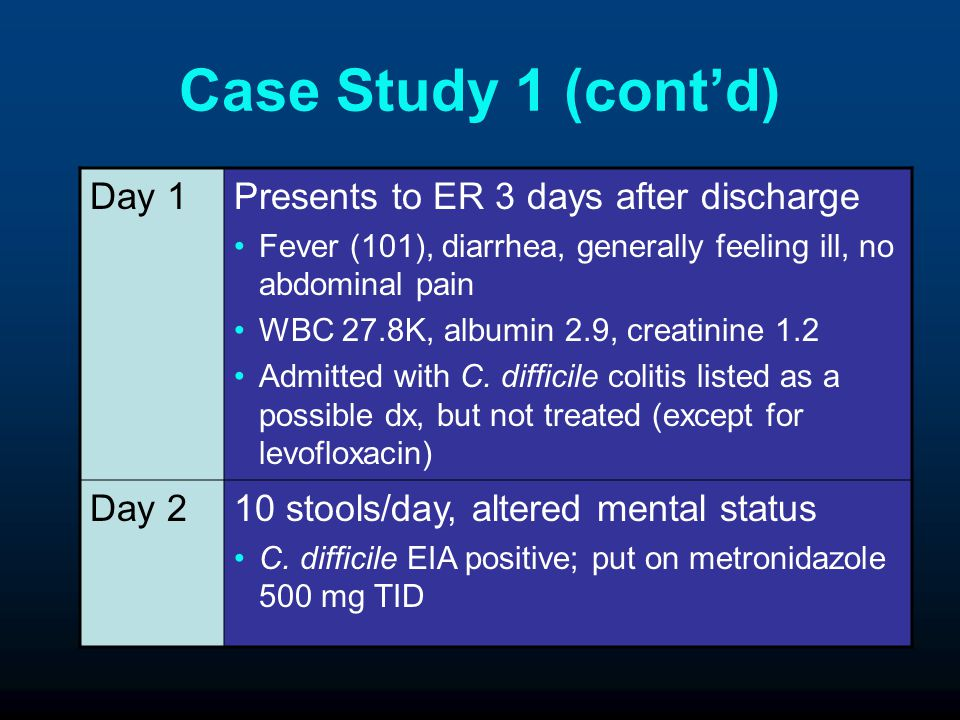 Case Study 1 (cont'd) Day 1 Presents to ER 3 days after discharge