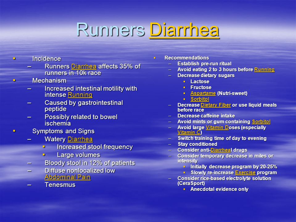 Runners Diarrhea Incidence