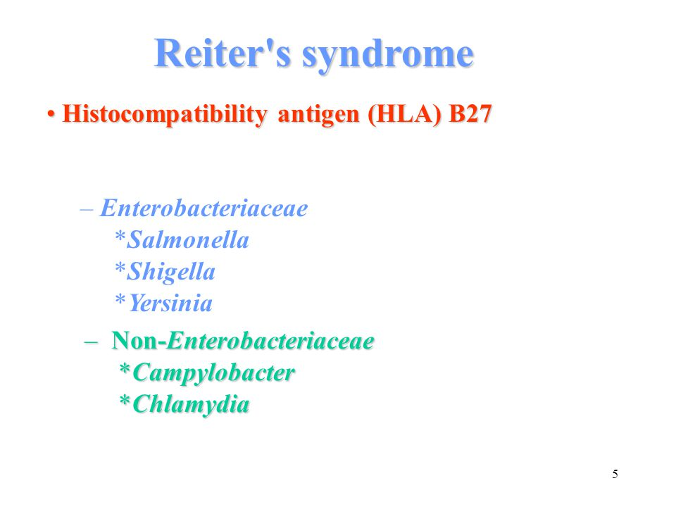 Reiter s syndrome Histocompatibility antigen (HLA) B27