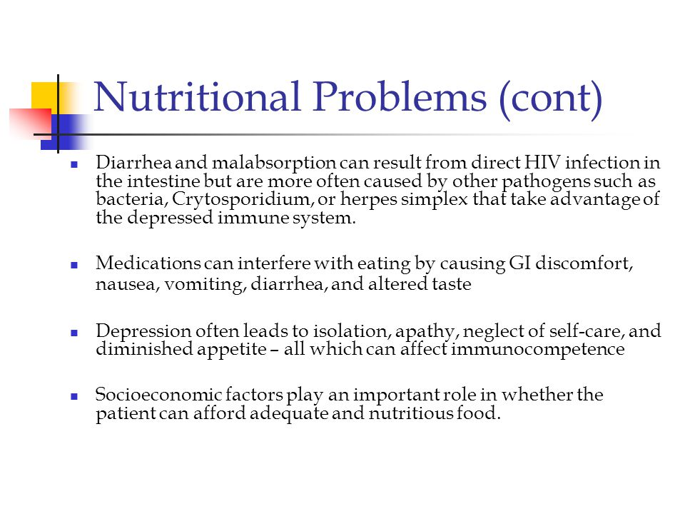 Nutritional Problems (cont)