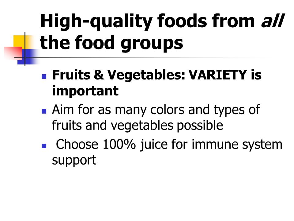 High-quality foods from all the food groups