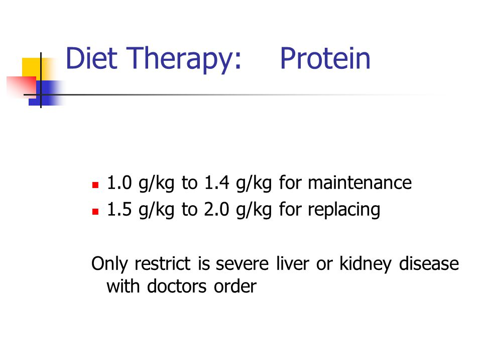 Diet Therapy: Protein 1.0 g/kg to 1.4 g/kg for maintenance