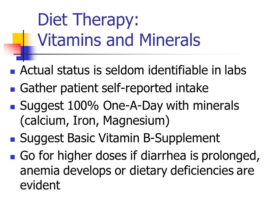 Diet Therapy: Vitamins and Minerals