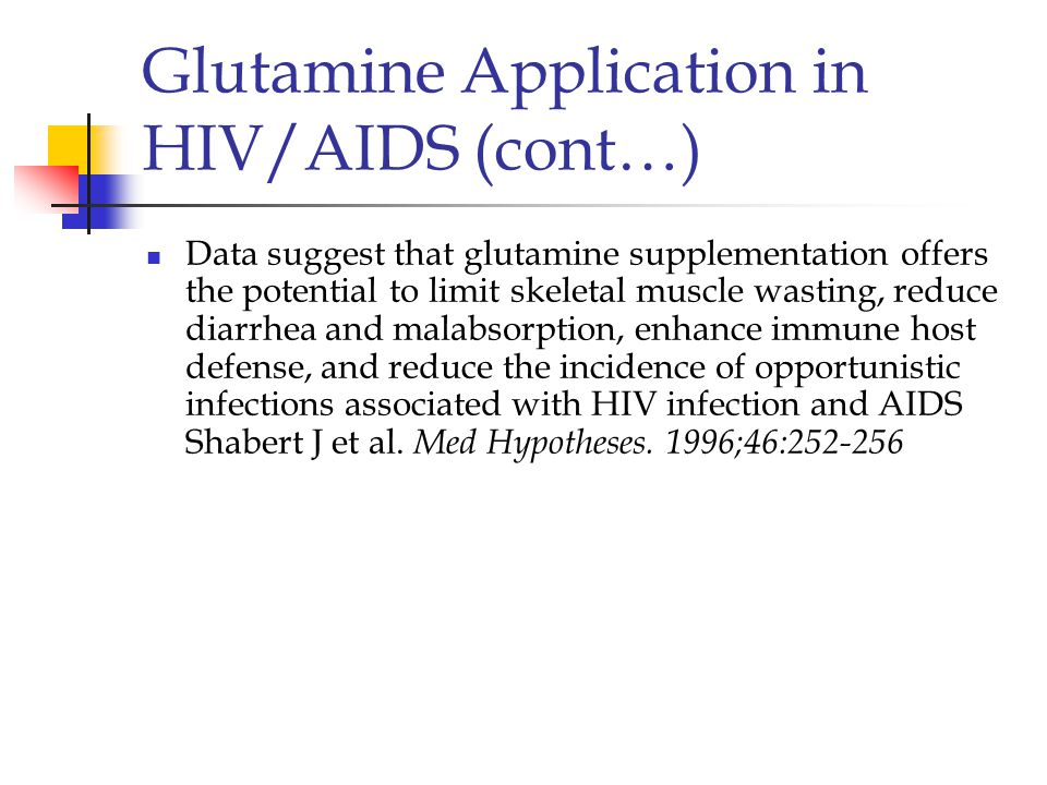 Glutamine Application in HIV/AIDS (cont…)