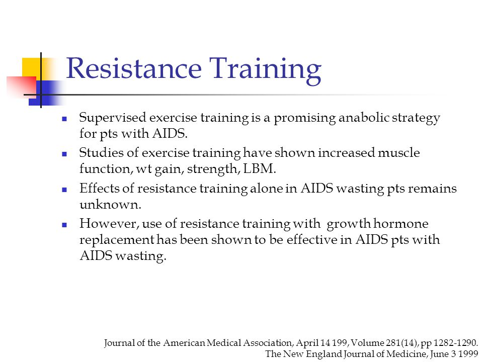Resistance Training Supervised exercise training is a promising anabolic strategy for pts with AIDS.
