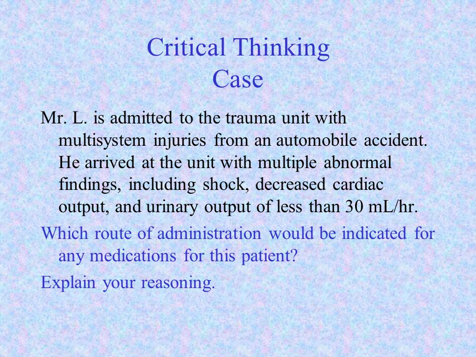 Critical Thinking Case