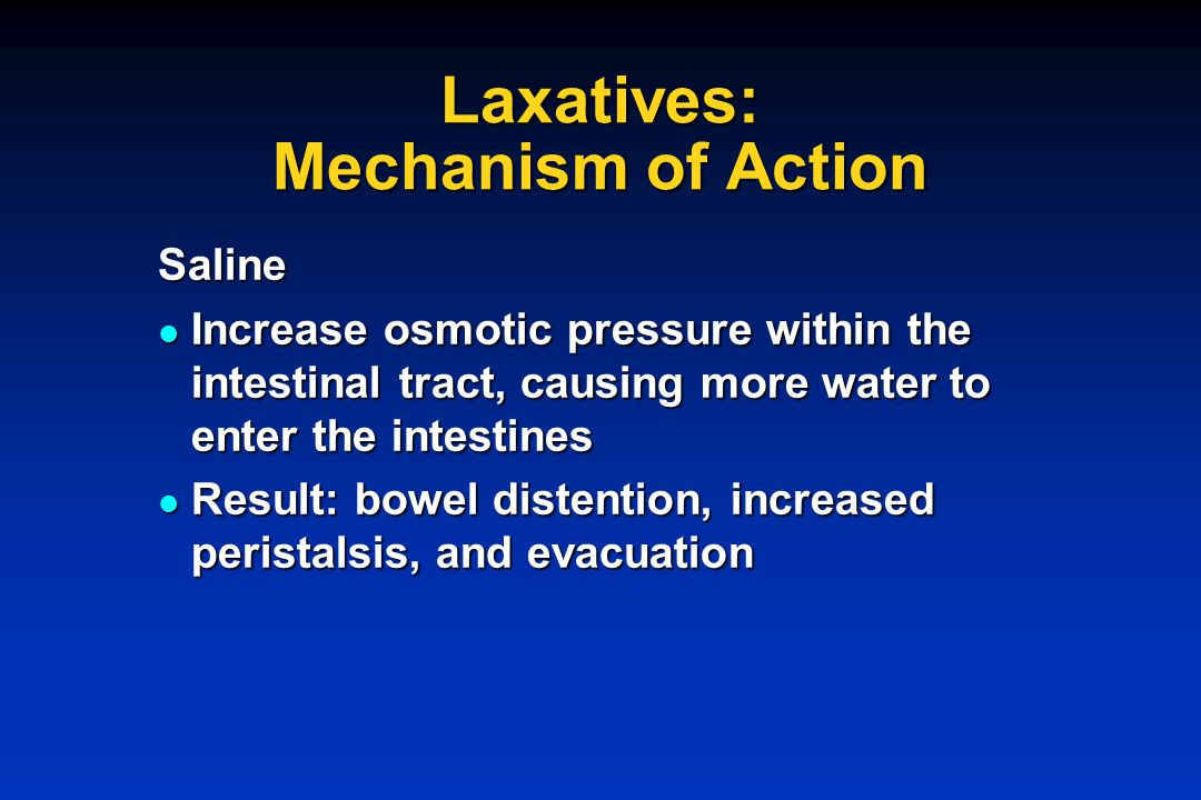 Laxatives: Mechanism of Action