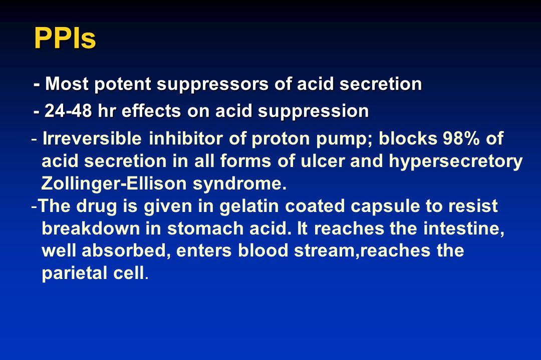 PPIs - Most potent suppressors of acid secretion