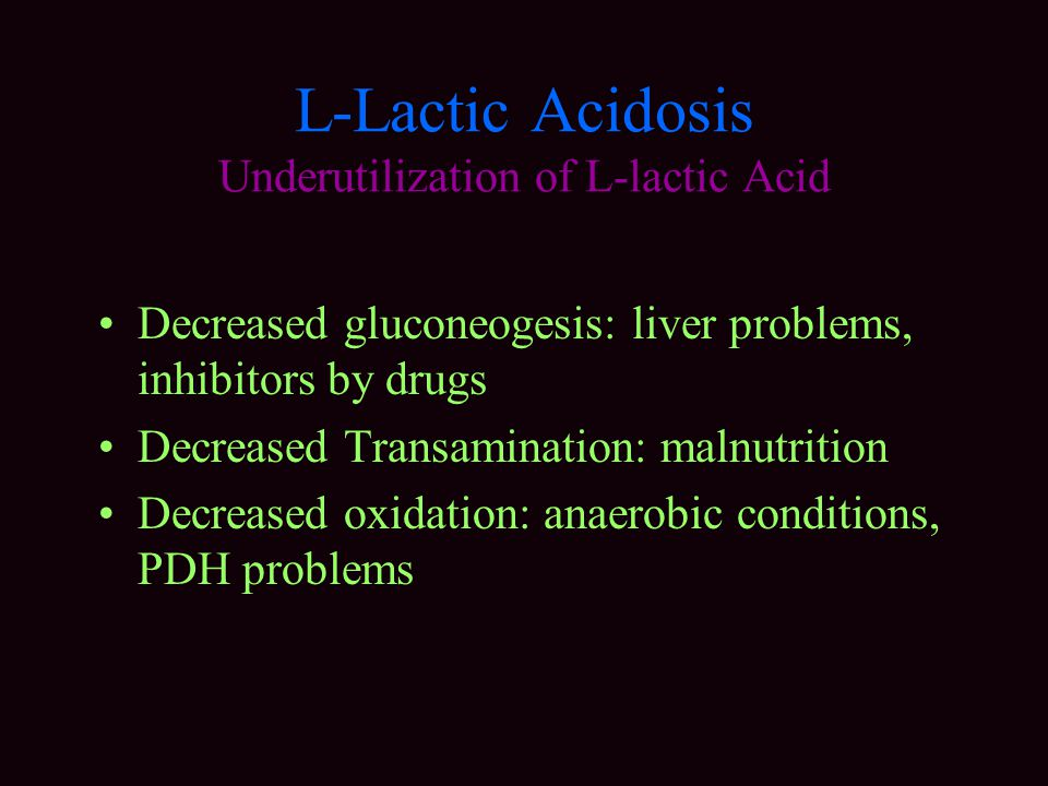 L-Lactic Acidosis Underutilization of L-lactic Acid