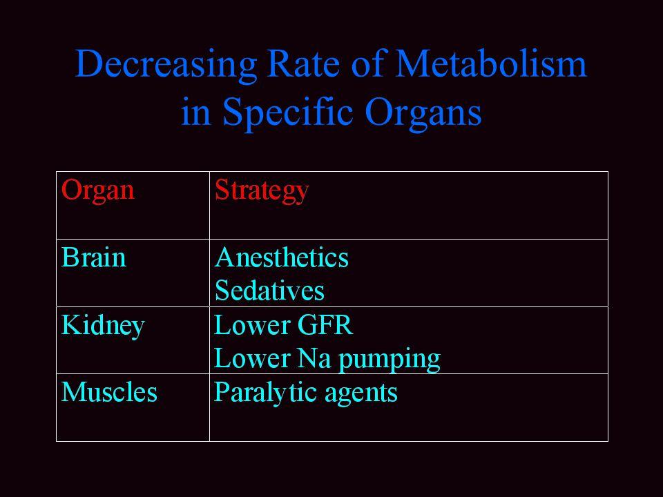 Decreasing Rate of Metabolism in Specific Organs
