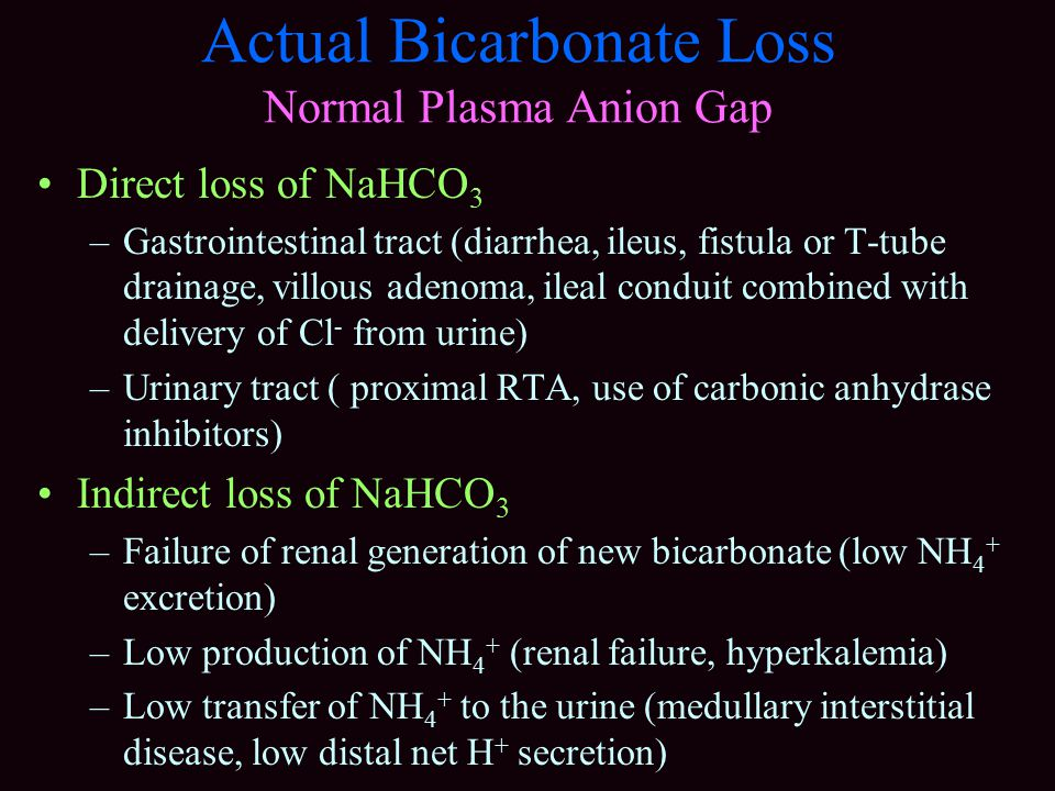 Actual Bicarbonate Loss Normal Plasma Anion Gap