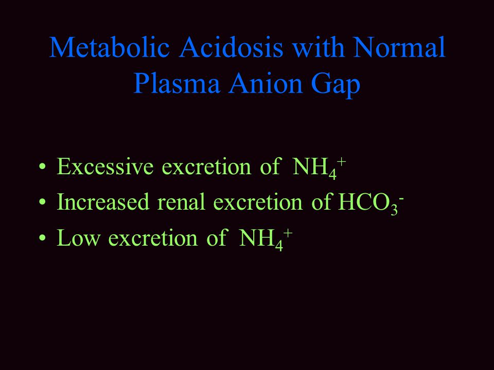 Metabolic Acidosis with Normal Plasma Anion Gap