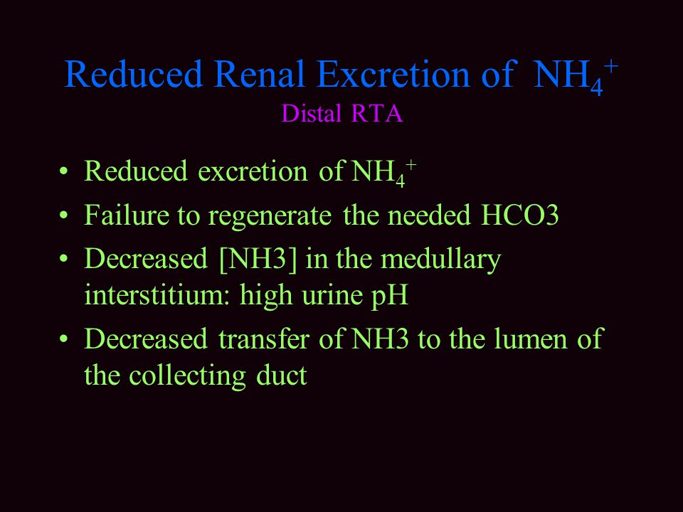 Reduced Renal Excretion of NH4+ Distal RTA