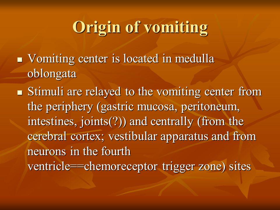 Origin of vomiting Vomiting center is located in medulla oblongata