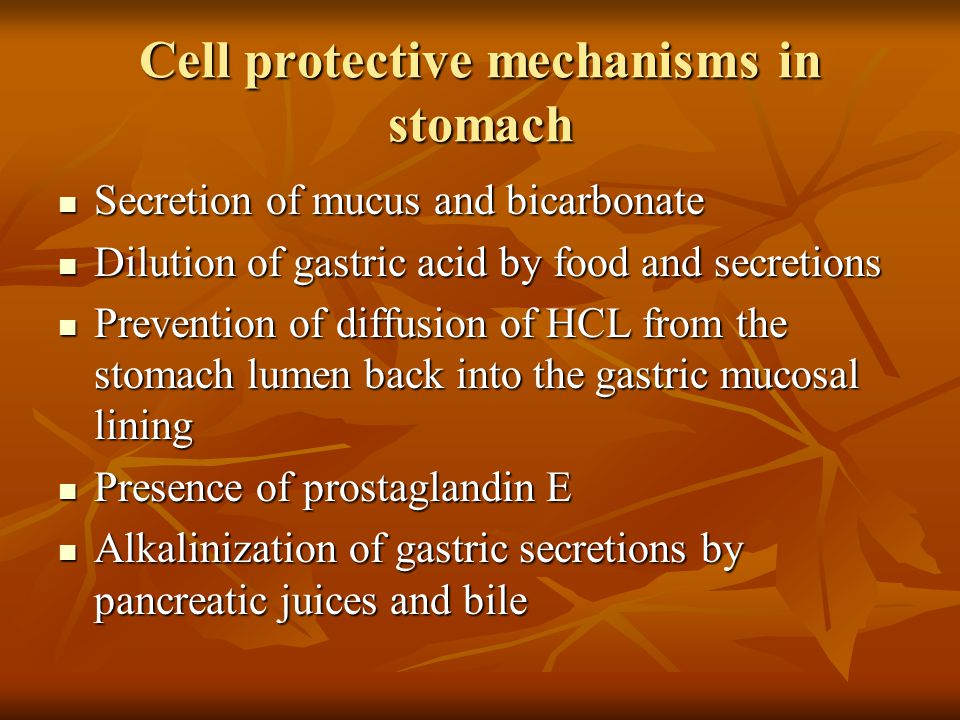 Cell protective mechanisms in stomach