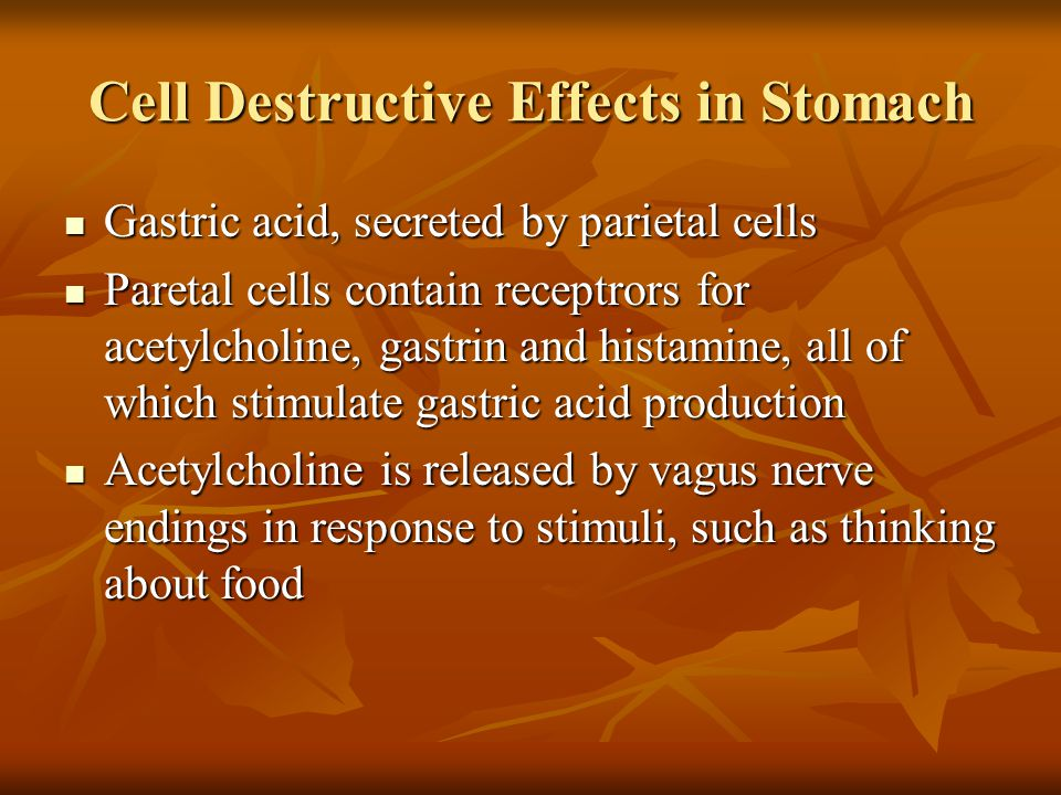 Cell Destructive Effects in Stomach