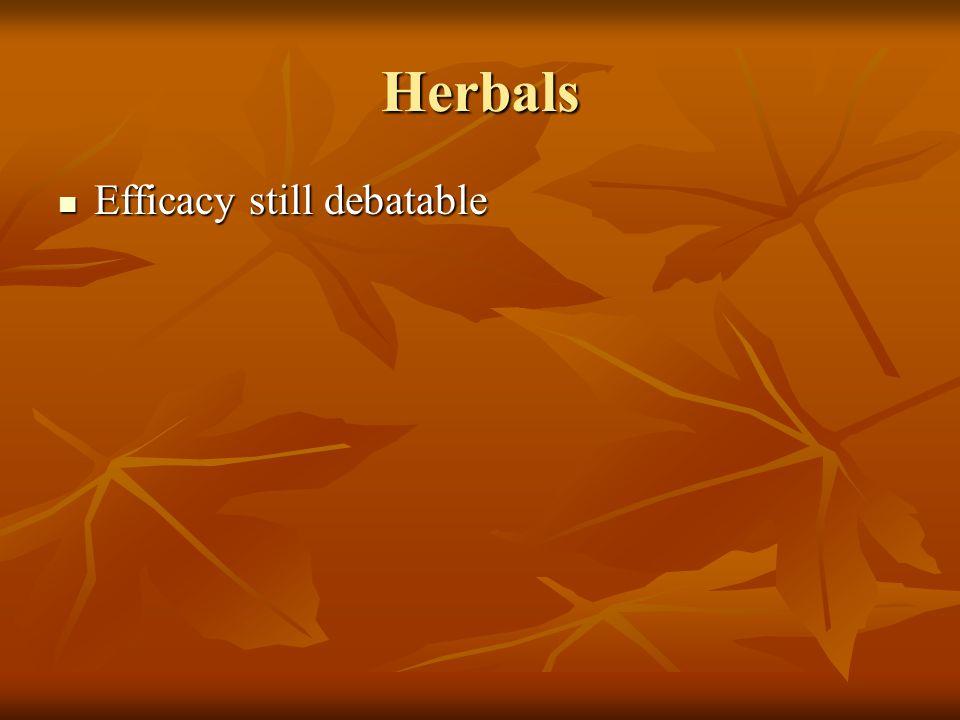 Herbals Efficacy still debatable