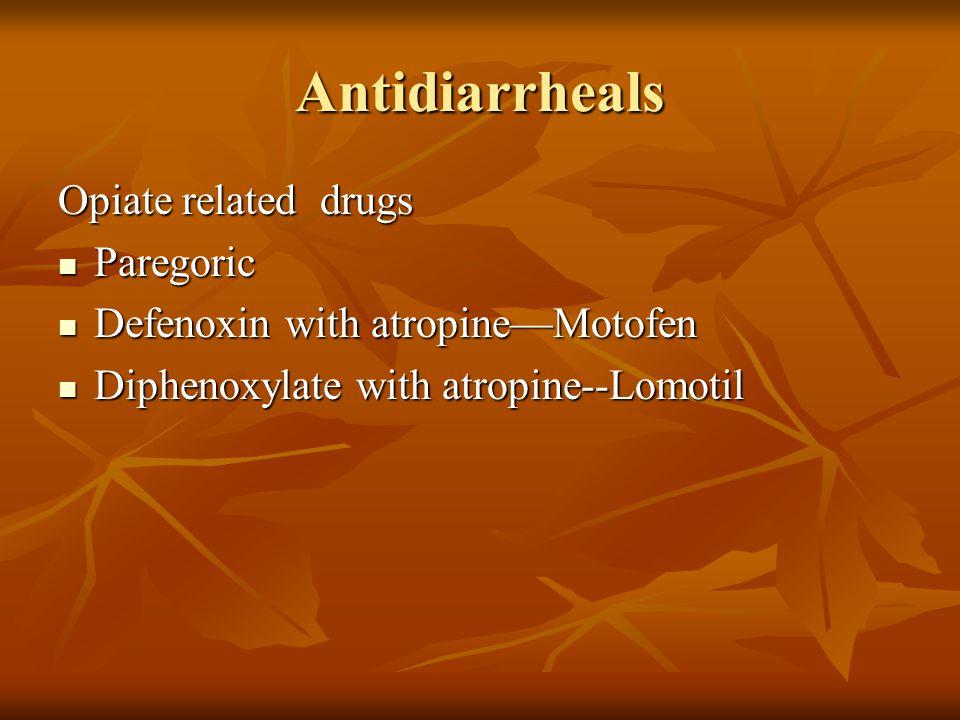 Antidiarrheals Opiate related drugs Paregoric