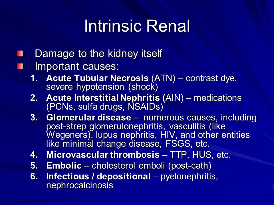 Intrinsic Renal Damage to the kidney itself Important causes: