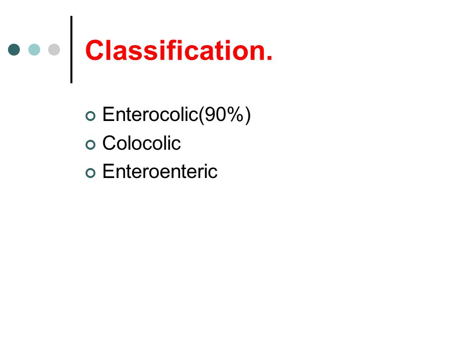 Classification. Enterocolic(90%) Colocolic Enteroenteric