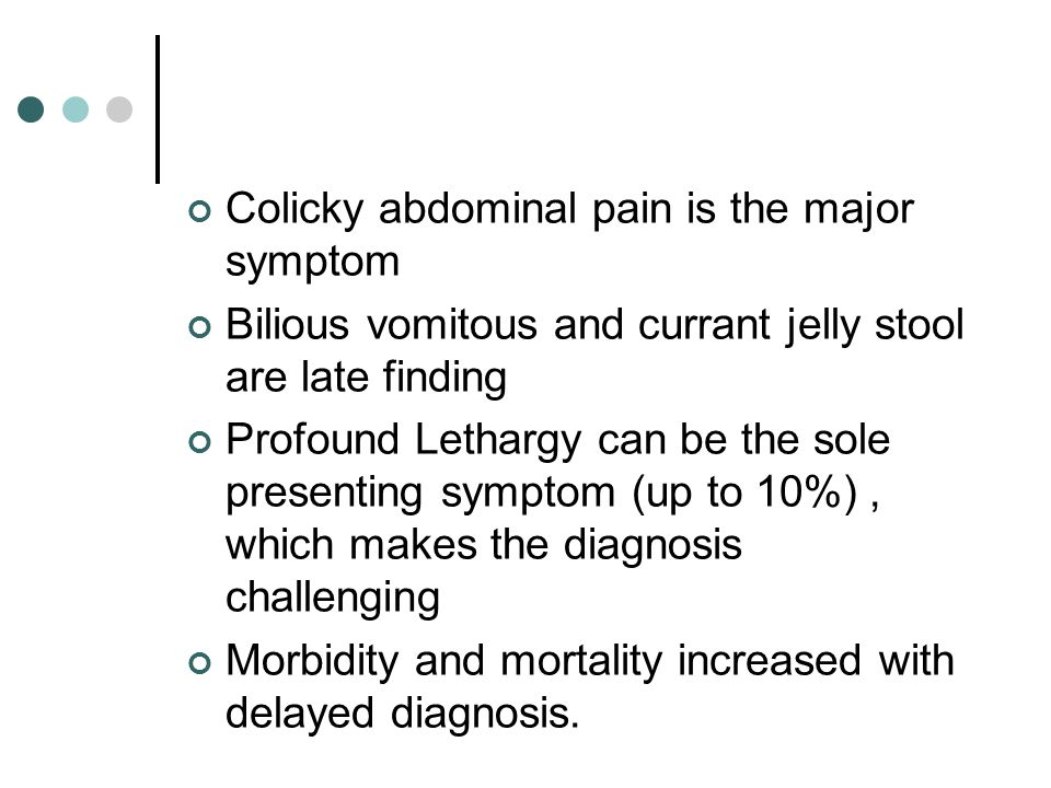 Colicky abdominal pain is the major symptom