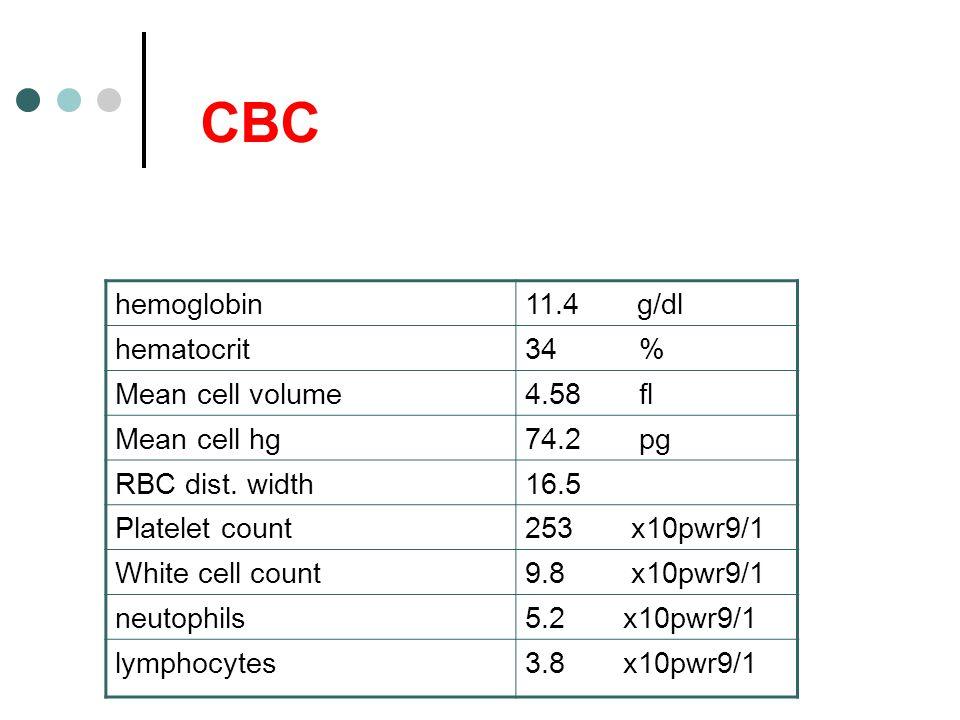 CBC hemoglobin 11.4 g/dl hematocrit 34 % Mean cell volume 4.58 fl