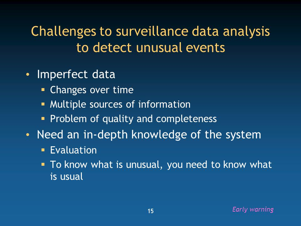 Challenges to surveillance data analysis to detect unusual events