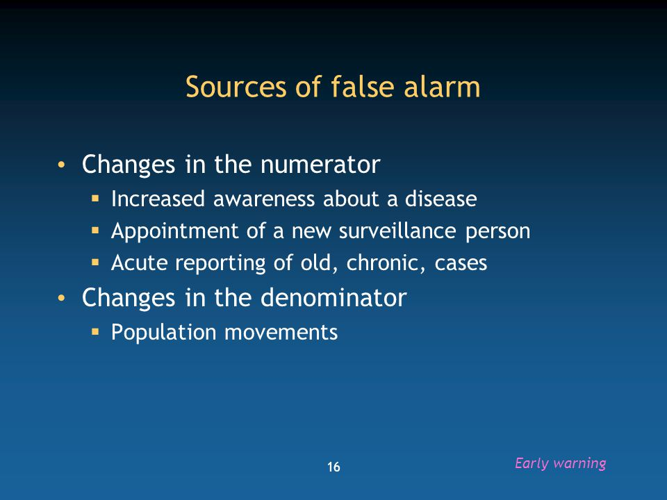 Sources of false alarm Changes in the numerator