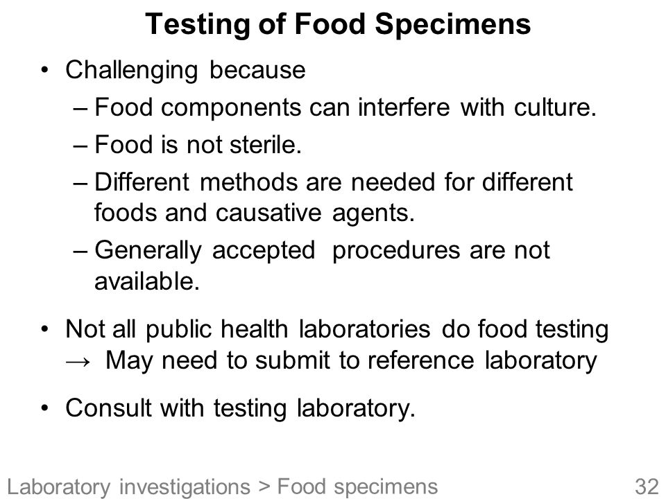 Testing of Food Specimens