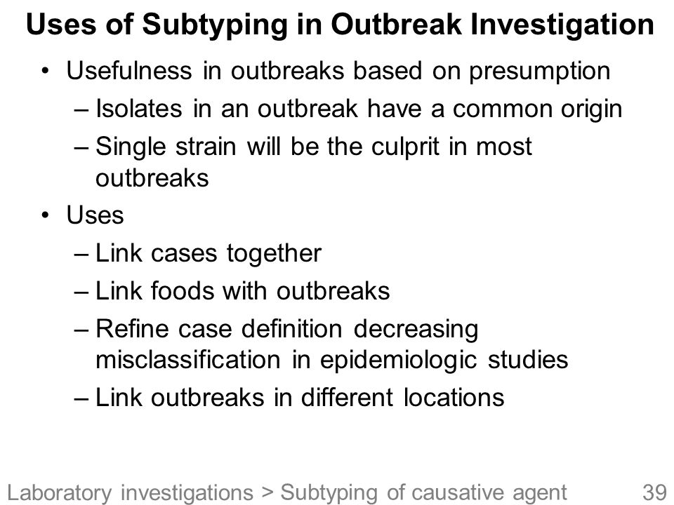 Uses of Subtyping in Outbreak Investigation