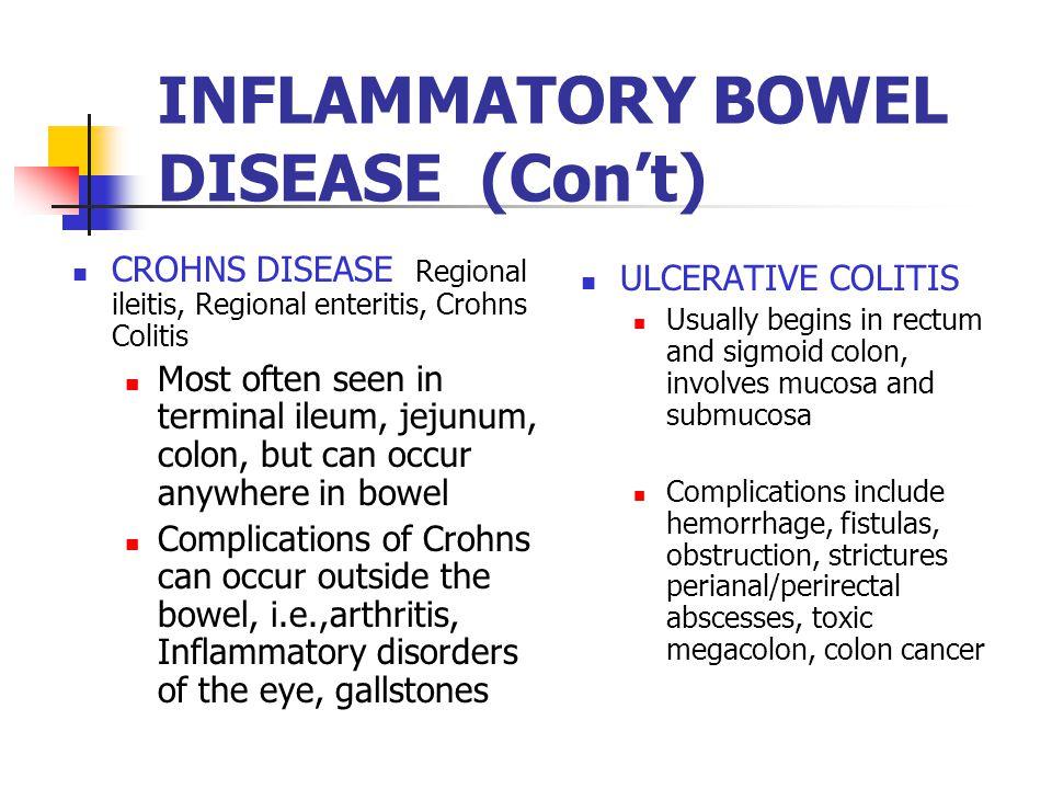INFLAMMATORY BOWEL DISEASE (Con't)