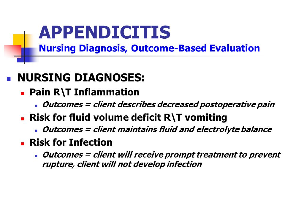 APPENDICITIS Nursing Diagnosis, Outcome-Based Evaluation