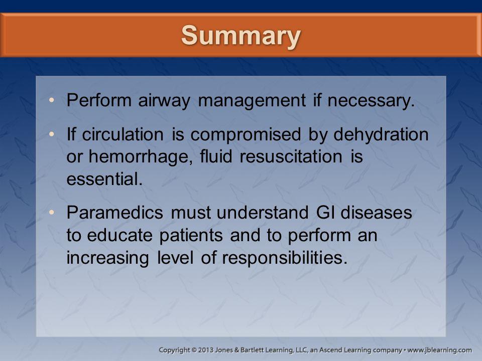 Summary Perform airway management if necessary.