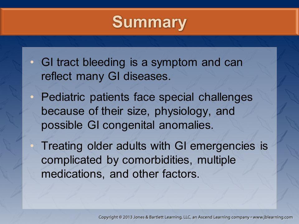 Summary GI tract bleeding is a symptom and can reflect many GI diseases.