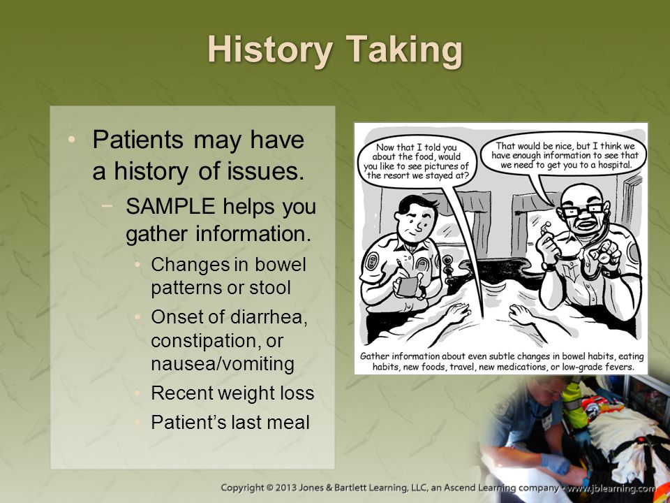 History Taking Patients may have a history of issues.