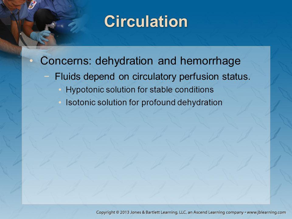 Circulation Concerns: dehydration and hemorrhage