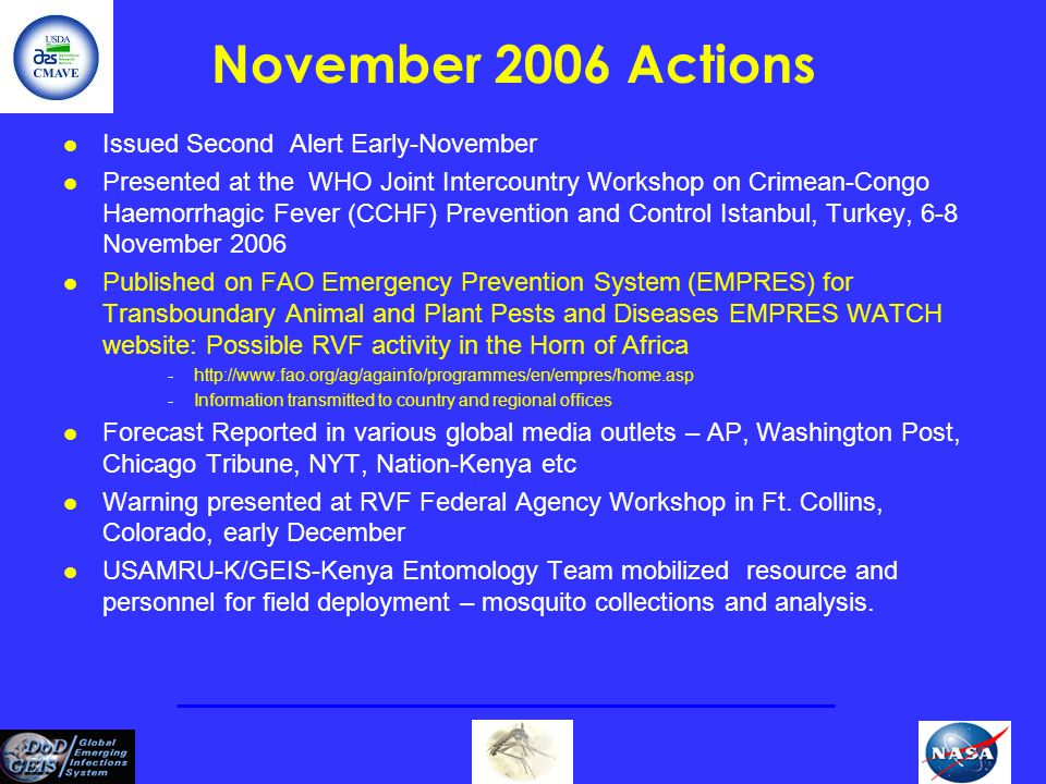 November 2006 Actions Issued Second Alert Early-November