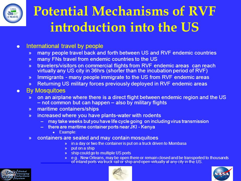 Potential Mechanisms of RVF introduction into the US