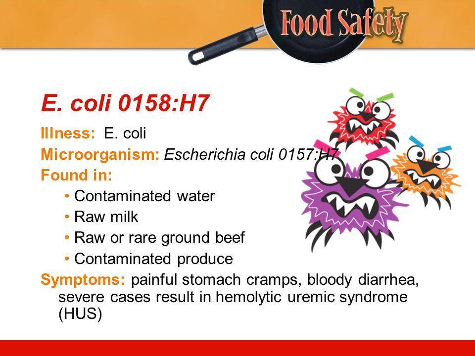 E. coli 0158:H7 Illness: E. coli