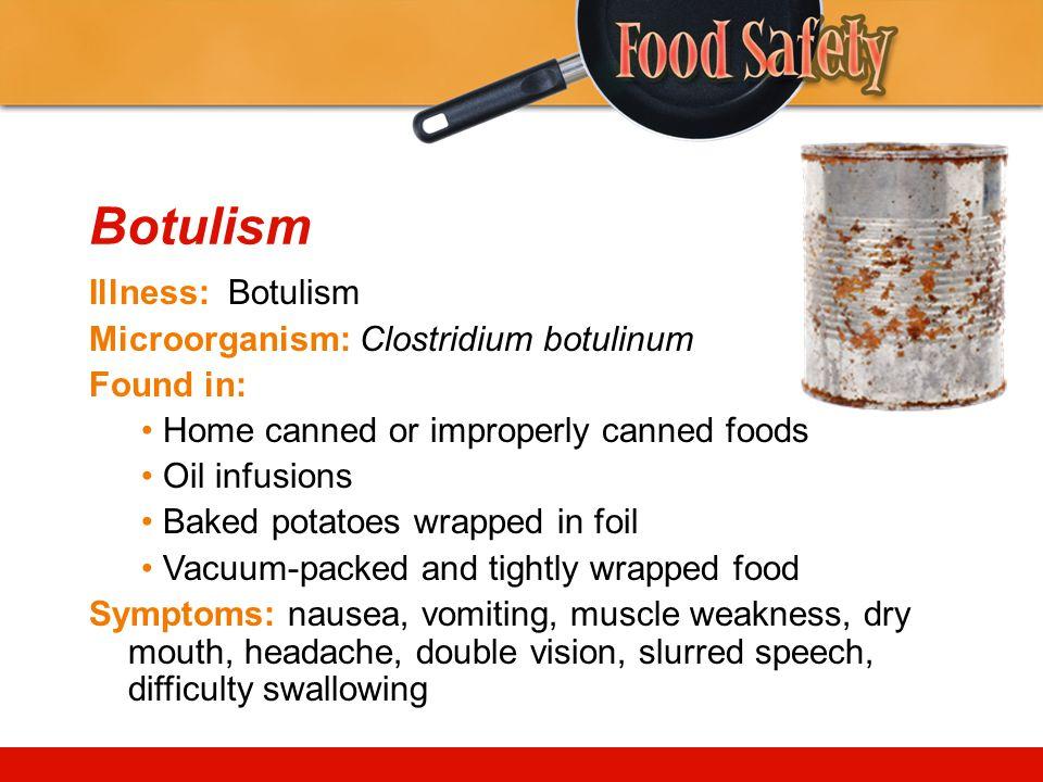 Botulism Illness: Botulism Microorganism: Clostridium botulinum