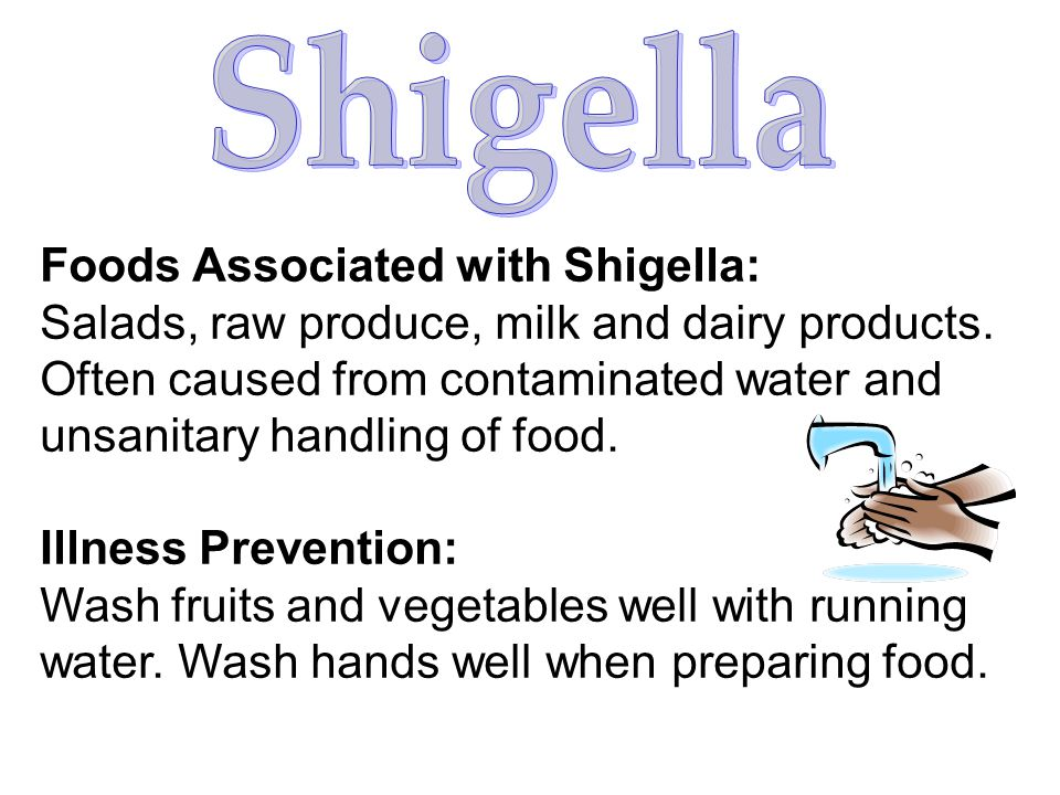 Shigella Foods Associated with Shigella: