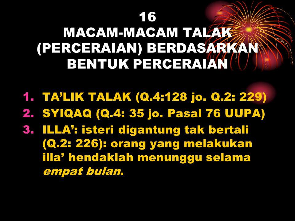 16 MACAM-MACAM TALAK (PERCERAIAN) BERDASARKAN BENTUK PERCERAIAN