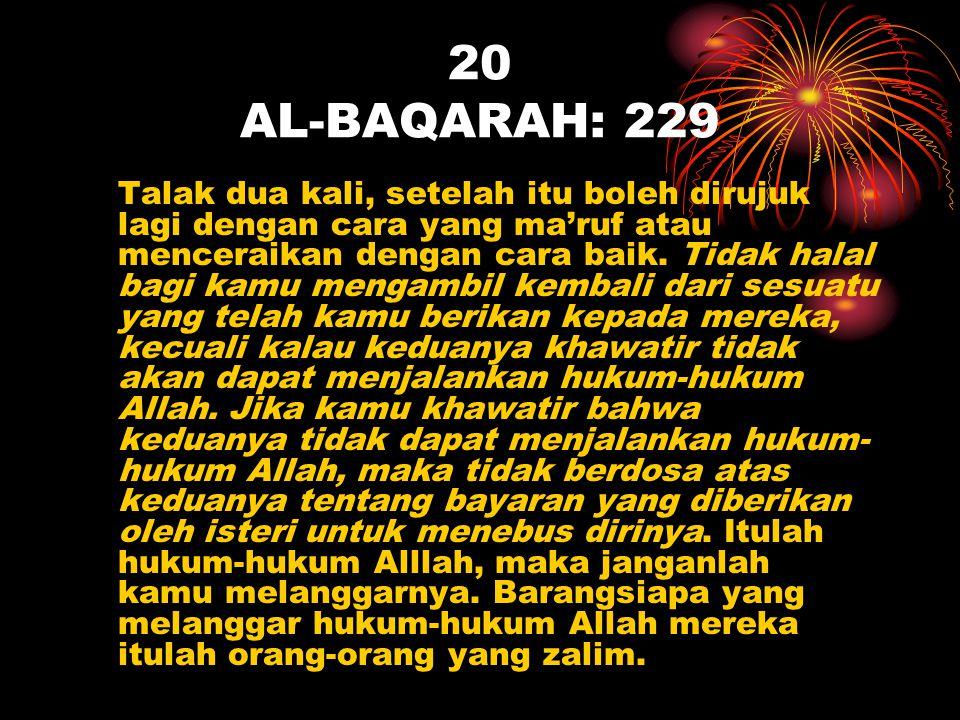 20 AL-BAQARAH: 229