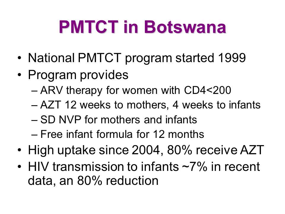 PMTCT in Botswana National PMTCT program started 1999 Program provides