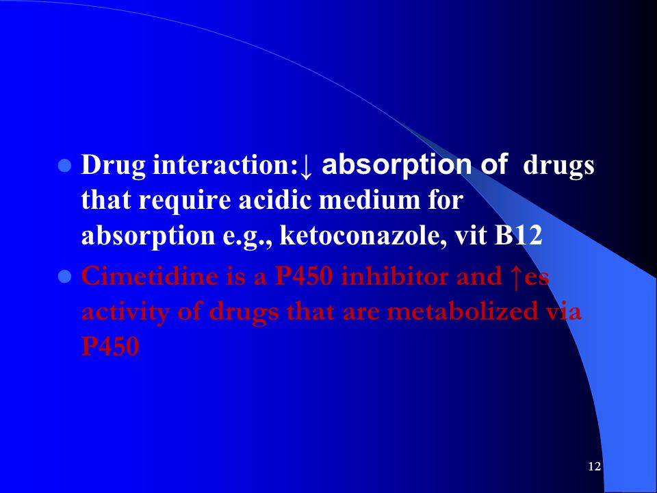 Drug interaction:↓ absorption of drugs that require acidic medium for absorption e.g., ketoconazole, vit B12